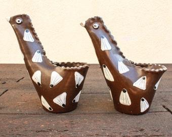 Vintage Mid Century Italian / Italy  Hand Painted Ceramic Clay Bird Shaped Vase / Holders