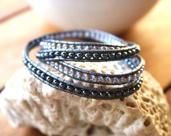 Beaded Leather Wrap Bracelet,Boho Wrap Bracelet,4 Wrap Bracelet,Leather Wrap Bracelet with Button Closure,Leather Bracelet,Handmade Bracelet