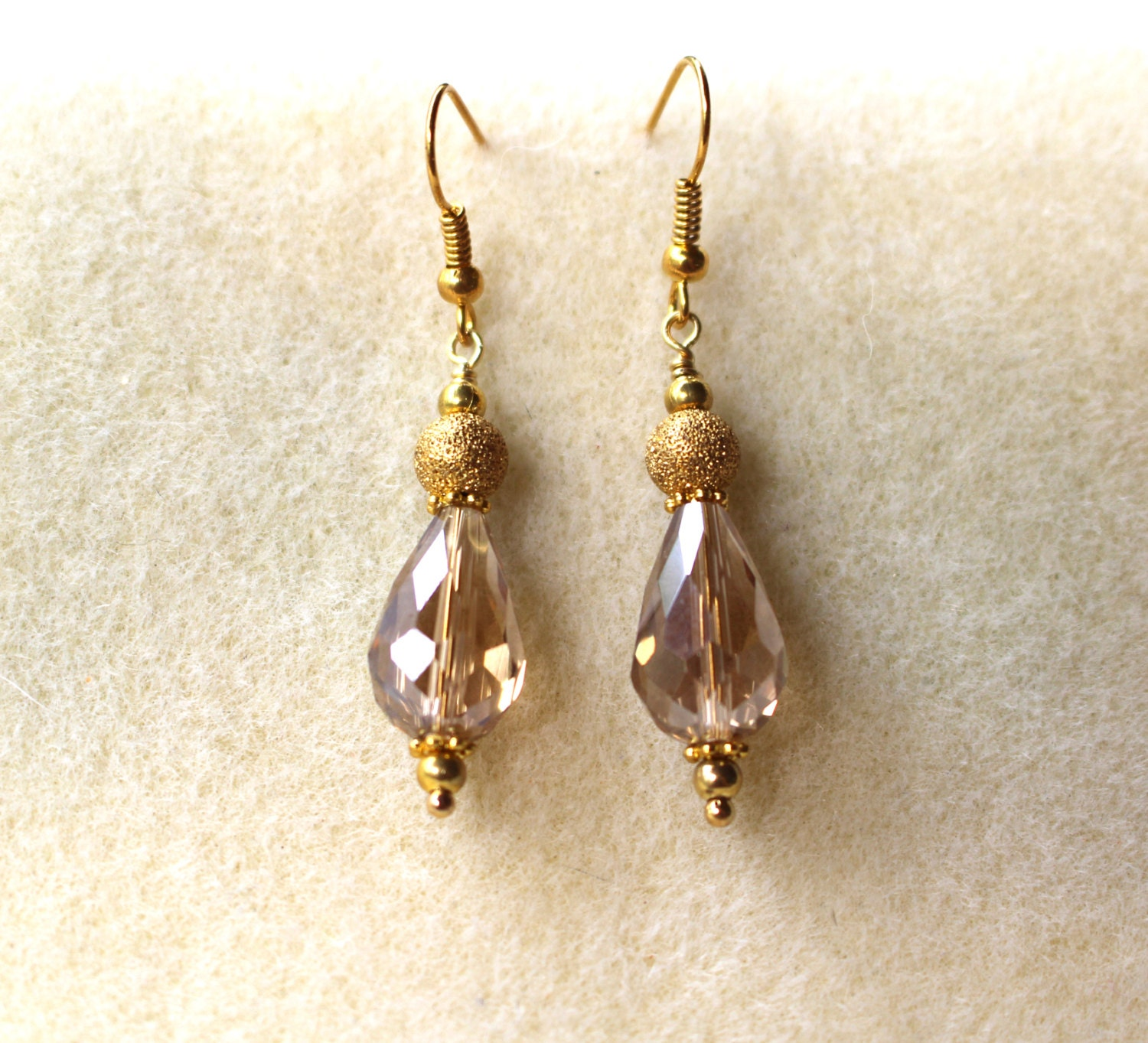 Topaz Teardrop Crystal Swarovski Earrings,Light Topaz Drop