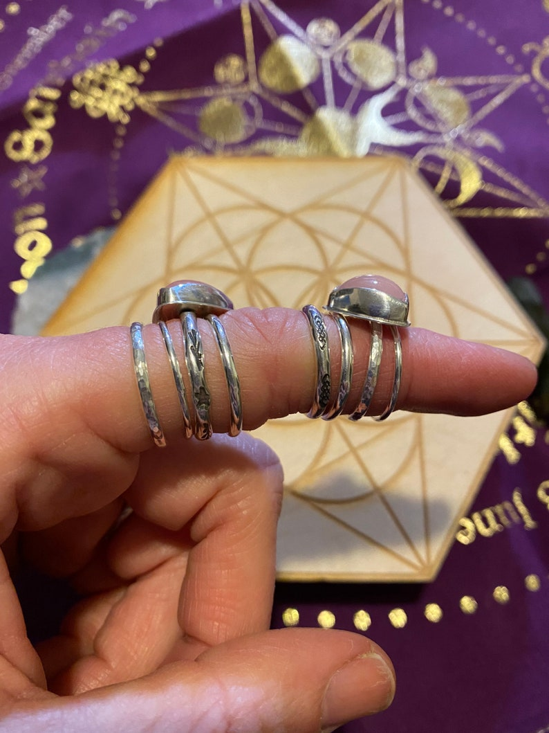 hammered stacker rings pink stone stacker ring Sterling silver stackable rings