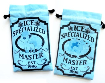 One Alolan Vulpix XL Pokemon Ice Specialized Master Drawstring bag for dice, Cell phones, Nintendo Ds XL, Dice, cards, or anything!