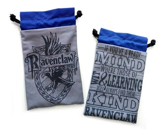 ONE Ravenclaw Blue and Gray Custom Harry Potter Drawstring bag for dice, Cell phones, Nintendo DS XL, cards, or anything!