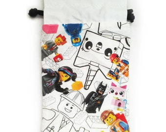 SALE Lego® Movie Drawstring Dice Bag Emmet, Wyldstyle, Unikitty, Batman for Nintendo Ds Xl, Dice, cards or anything