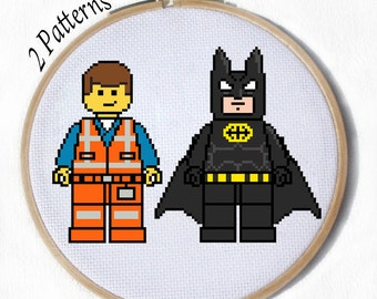 Emmet and Batman from the Lego Movie 2 cross stitch patterns - everything is awesome! with pdf