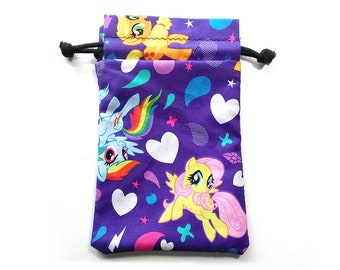 My Little Pony Drawstring Dice Bag with Licenced purple fabric  featuring Rainbow Dash, Pinkie Pie and Twilight Sparkle