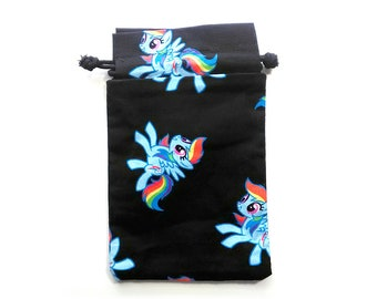 My Little Pony Drawstring Dice Bag with Black Licenced fabric featuring Rainbow Dash 20% cooler!
