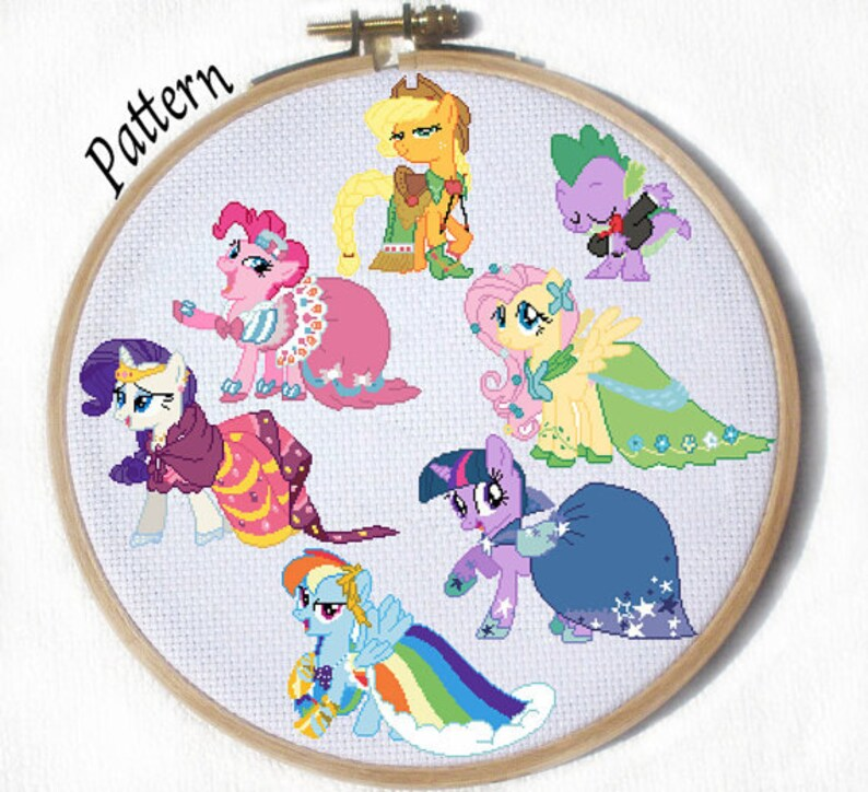 Mane 6 Grand Galloping Gala Pdf Cross Stitch Pattern Twilight Etsy