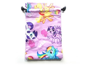 My Little Pony Drawstring Dice Bag with Licenced  fabric  featuring Rainbow Dash, Pinkie Pie and Twilight Sparkle rarity apple jack
