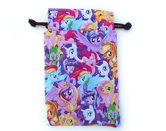 My Little Pony Drawstring Dice Bag with Licenced  fabric  featuring Rainbow Dash, Pinkie Pie and Twilight Sparkle