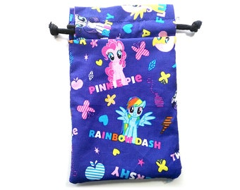 My Little Pony Drawstring Dice Bag with Licenced purple fabric Rainbow Dash, Pinkie Pie and Twilight Sparkle rarity, apple jack