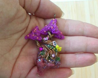 Necklace purple fantasy tree