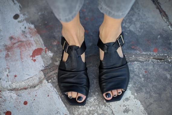 Slouch Sandals Black Slingback Shoes Summer SALE Sandals Handmade Black Flats Leather Sandals Sandals Phillipa Summer Sandals OxfBF5q