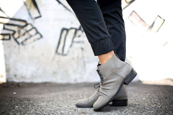 Riding Handmade Booties Boots Up Gia Boots Boots Lace Ankle Booties Boots Slouch Leather Ankle Boots Gray SALE Boots H8wqZPy6Z