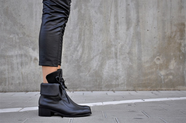 Leather Boots Ankle Boots Black Booties Handmade Boots image 0