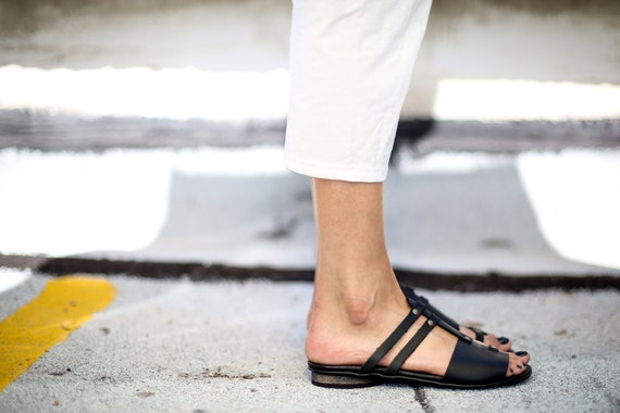 Strappy Ju Flats Slip SALE On Summer Black Sandals Sandals Leather Black Sandals Sandals Slide Handmade Sandals Sandals Summer Shoes Uq5Bqn6