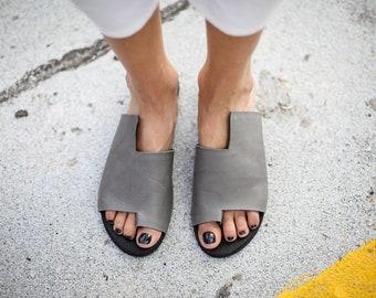 SALE, Grey Leather Sandals, Handmade Sandals, Flat Sandals, Grey Summer Shoes, Slide Sandals, Toe Ring Sandals, Slip On Sandals, Simone
