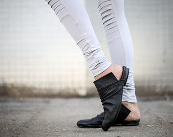 SALE Black Mules, Leather Sandals, Black Sandals, Slip On Sandals, Handmade Sandals, Black Slide Sandals, Slouch Sandals, Summer Shoes, Romy