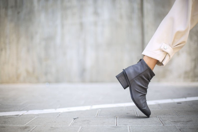 NEW Gray Heeled Boots Gray Booties Ankle Booties Leather image 0