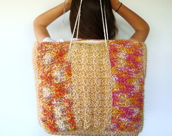 Bolso Etsy para lana mujer de mano de negro a punto Bolso hecho rwOxrqPX