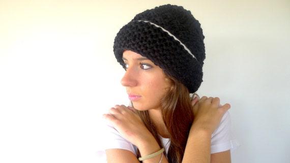 Hand knit beanie with brim in black and white. Oversized beanie hat ... 5862b576bdf