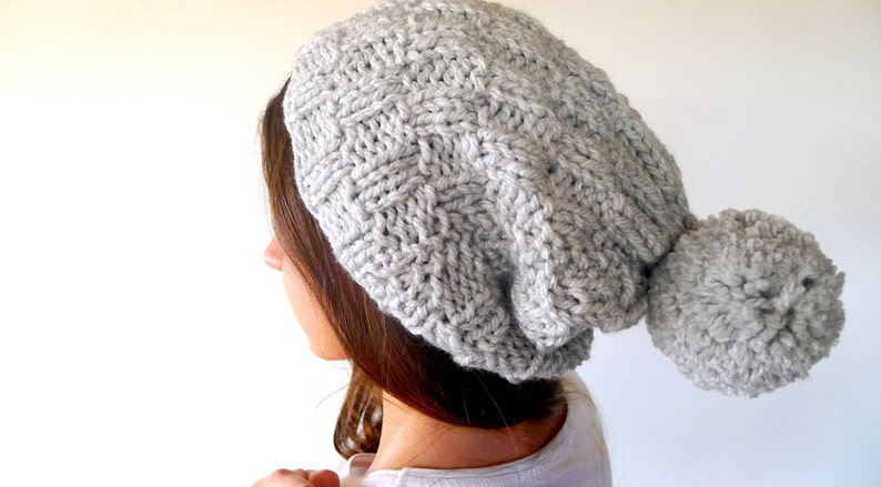 890470f89fd2bc Slouchy knit hat with big pom pom. Oversized pom pom beanie. | Etsy
