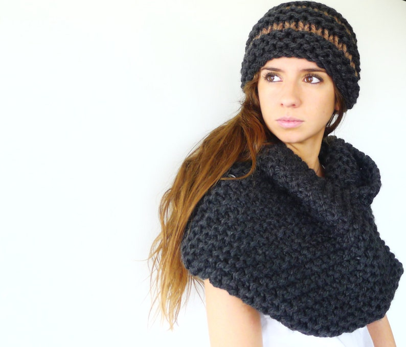 0cd2eac2f49 Black knit infinity scarf and hat set. Hat and scarf set.