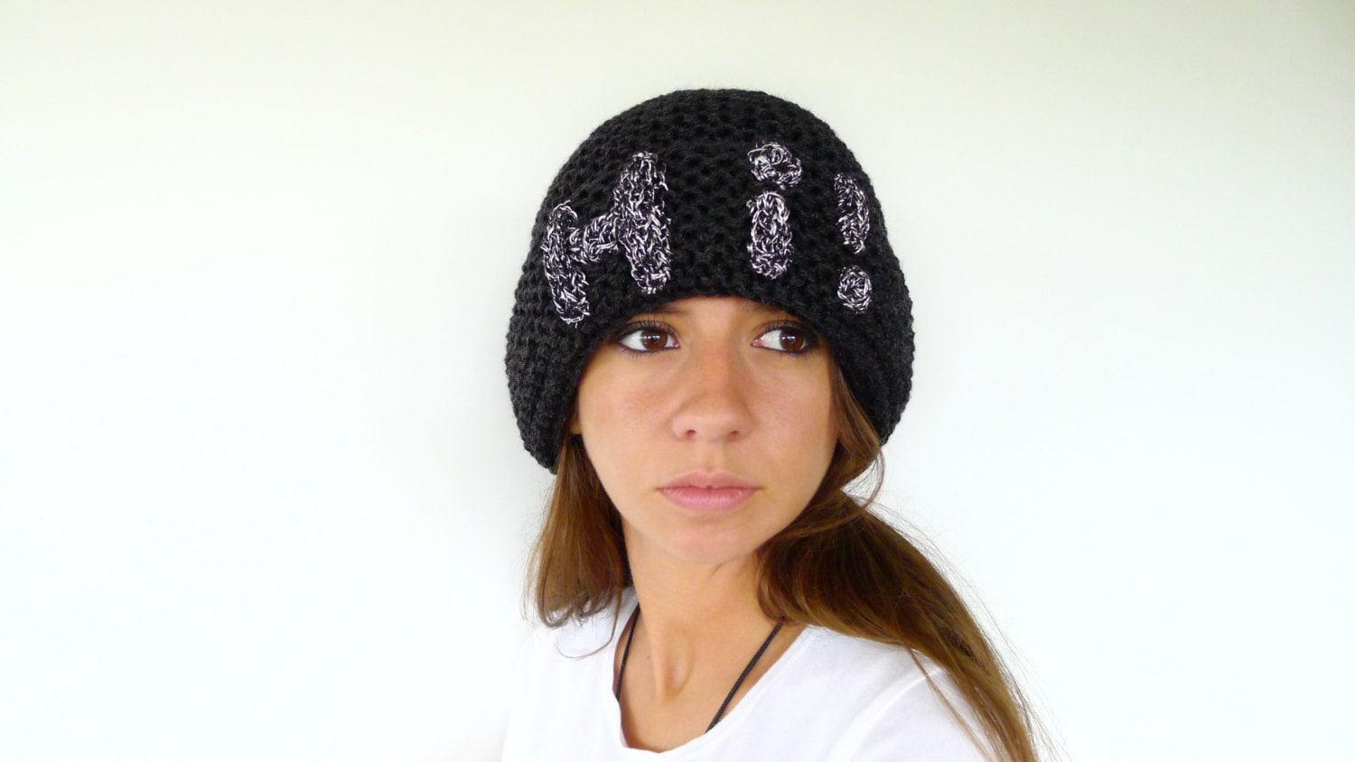 Custom knit hat with brim. Black beanie hat. Womens knitted  cd24b1ab3