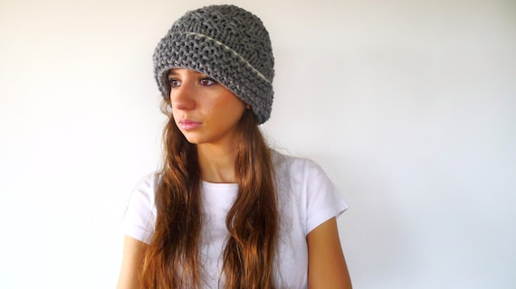 Hand Knit Beanie Hat In Grey Chunky Knit Hat With Brim Grey Wool Hat Women S Knitted Hat Gift Idea For Her