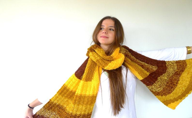 Bufanda de lana marrón y amarilla Bufandas de moda para  75160c3d6cfc
