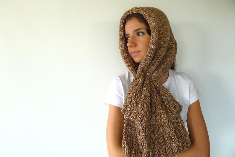 Cuello con capucha tejido. Bufanda capucha tostada. Bufandas | Etsy