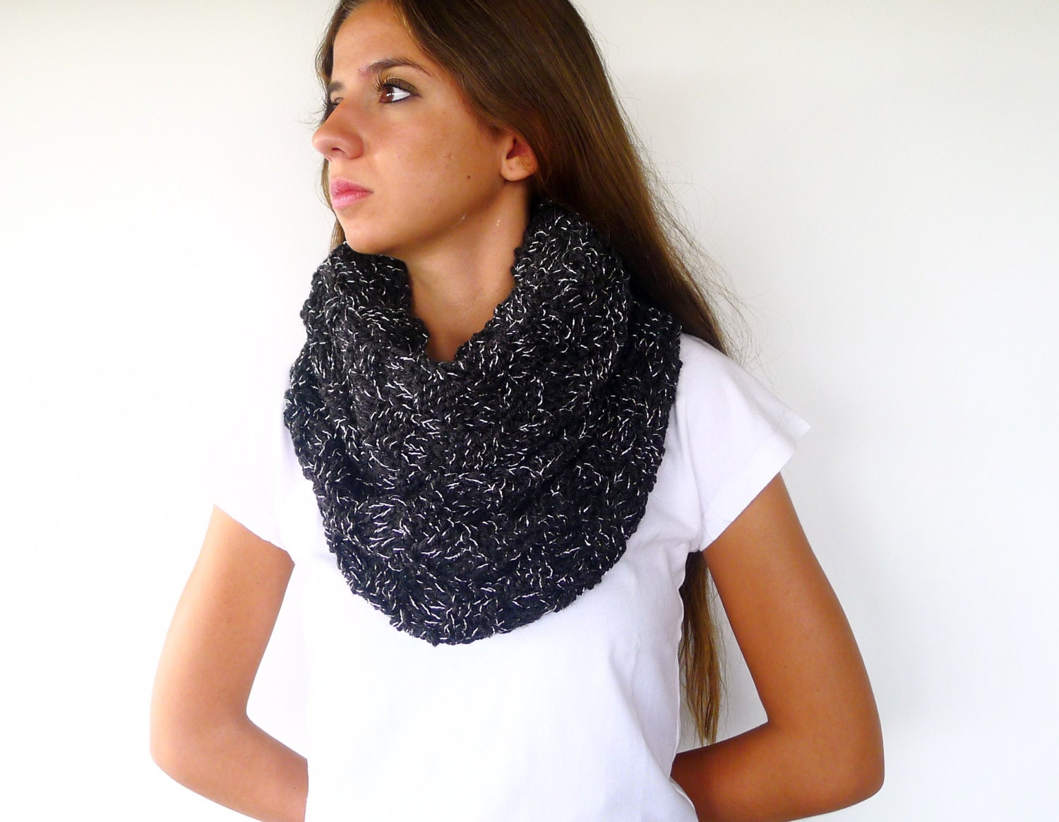 Black wool infinity scarf. Unique handmade scarves. Knit wool snood ... b8e91e6bae0