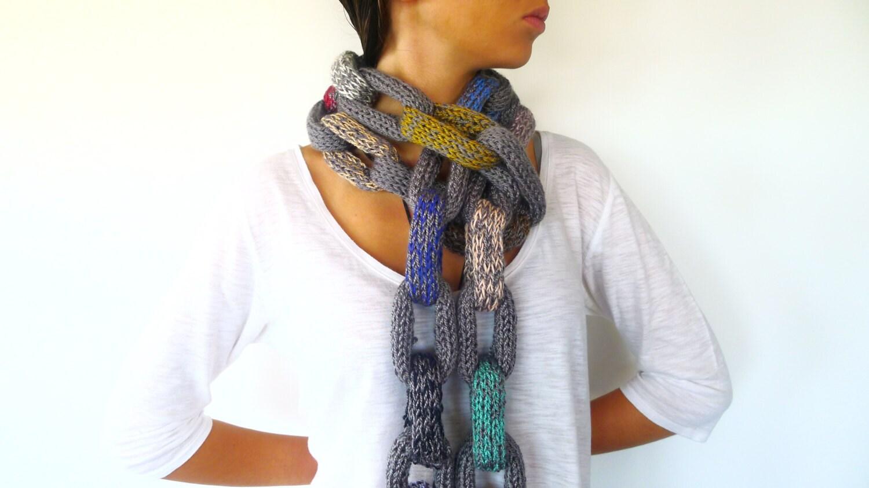 Bufanda multicolor hecha a mano Bufanda cadena para mujer | Etsy