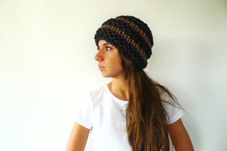 b6434f48b9c Black   and brown warm beanie hat. Super chunky wool knit hat.