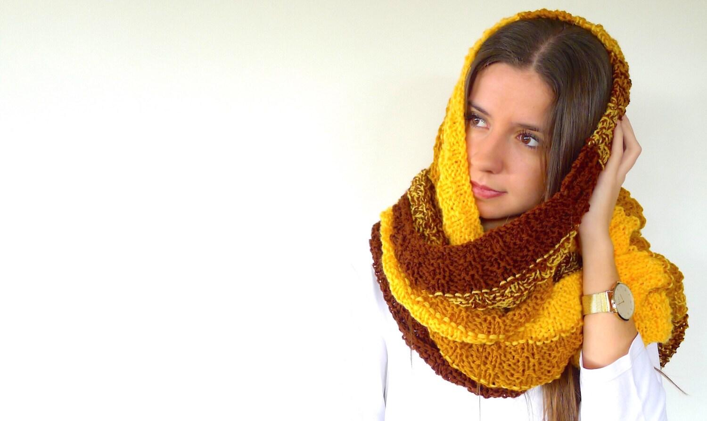 Bufanda de lana marrón y amarilla Bufandas de moda para | Etsy