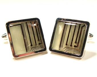 Art Deco Cufflinks Copper Cufflinks Man Gift  Gift For Him Electronic Cufflinks Geek Fashion Eco Cufflinks Recycled Motherboard