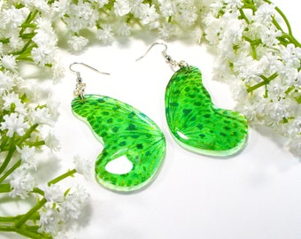 Green butterfly wing earrings, Inspired by nature, Christmas gift, handmade jewellery, drop earrings, accessories for her,