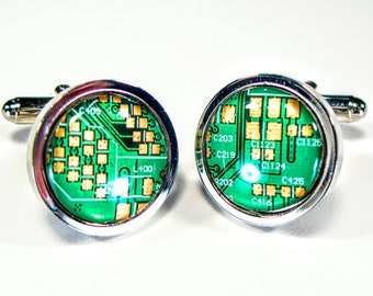 Circuit Board Cufflinks, Unique Cufflinks, Geek Gift, Gift for Dad, Rhodium Plated, Tech Fashion, Tech Accessory, Gift For Men.