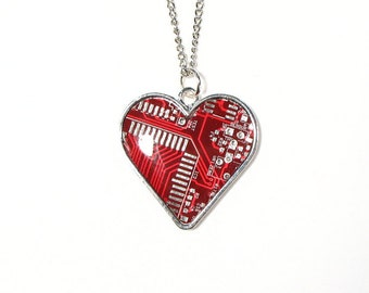 Recycled Circuit Board Heart Necklace, Red, Blue, Green, Black, Computer Gifts, Computer Chip Necklace, Engineer Gift,