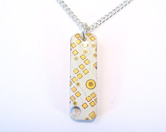 Circuit Board Necklace White Gold Pendant Recycled Jewelry PCB Techie Silver Jewellery Geek Motherboard Computer Chip Gift for Her Techie