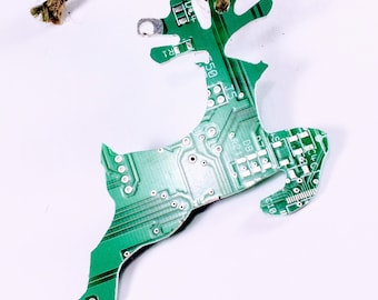 Recycled Circuit Board Reindeer Christmas Tree Decoration