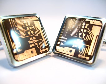 Copper Cufflinks Computer Cufflinks  Gift For Him Circuit Board Cufflinks Square Cufflinks Geek Cufflinks Men's Gift Man Accessory