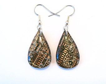 Copper Circuit Board Earrings Teardrop Earrings Recycled Jewelry PCB Accessory Techie Jewellery Geek Gift Dangle Earrings