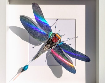 Holographic Winged Insects, Amazing Moving Rainbow Colours, Pearlescent, Mother of Pearl, Framed Insect, Handmade By Electrickery