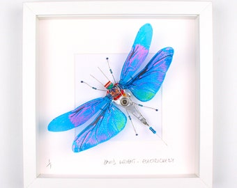 Blue & Pink Dragonfly Framed Wall Art | Recycled Sculpture