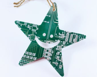 Recycled Circuit Board Star Christmas Tree Decoration