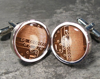 Round Copper &  Brown Circuit Board Cufflinks, Men's Gift,  Gift For Him, Electronic gift, Accessory, Eco, Recycled, Motherboard.