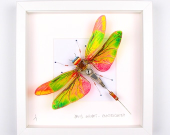 Green & Red Dragonfly Framed Wall Art | Recycled Sculpture
