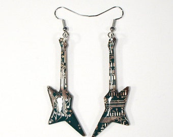 Guitar Earrings, Circuit Board Earrings, Valentine's Gift, Computer Gifts, Computer Earrings, Engineer Gift, Gift for Her, Upcycled Gift