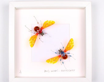 Honey Bees Framed Wall Art | Recycled Sculpture