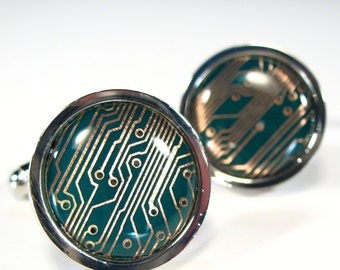 Circuit Board Cufflinks Green & Copper Round Cufflinks  Gift For Him Computer Electronic PCB Accessory Recycled Motherboard